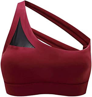 One Shoulder Sports Bra for Women Pads Insert Sexy and Breathable Racerback Gym, Yoga and Running Bra High Impact