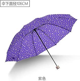 AUWANGAOFEI 10 Small Fresh Wind to Increase Bone Triple Folding Umbrella Rain Or Shine Dual-use Fashion Dot Umbrella (Color : Purple)