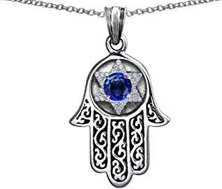 Star K Sterling Silver Hamsa Evil Eye Protection Pendant Necklace