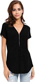 Womens Loose Fitting Zip Up Deep V Neck Short Sleeve Tops Tunic Casual T Shirts Blouse