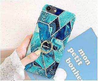 Urhause Funda Compatible con iPhone 7/8,Anillo Soporte Kickstand Mármol Chapado Estampado Costuras Premium Carcasa Silicon...