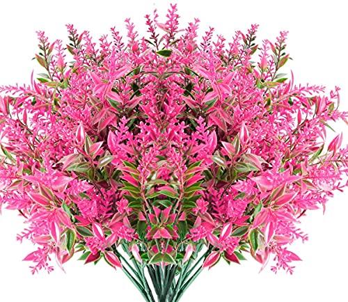 6 Piezas Flores Lavanda Artificiales,Flores de plástico Artificiales,no se decolora,para Interior Exteriores decoración Arbusto de jardín Porche Ventana decoración Planta (Rosa)