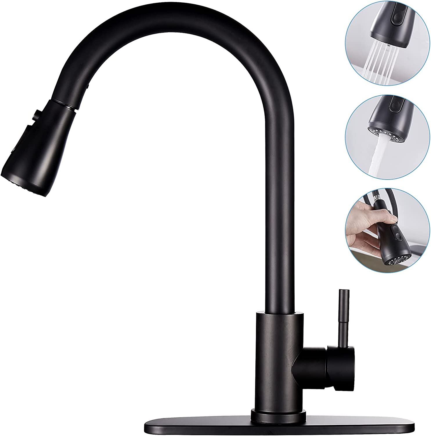 Matte Ranking TOP5 Black Kitchen Sink Faucet with Ranking TOP1 Pull Sprayer Down Single Ha