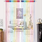 1 cortina para puerta de arco iris, cortina con cuentas de rocío, cortina de ventana, cortina de borla, panel de cristal para puerta, divisor de puerta, 100 x 200 cm