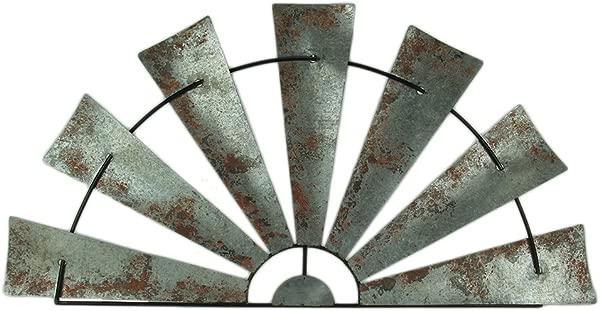 Zeckos 大号仿旧金属半月风车墙壁雕塑