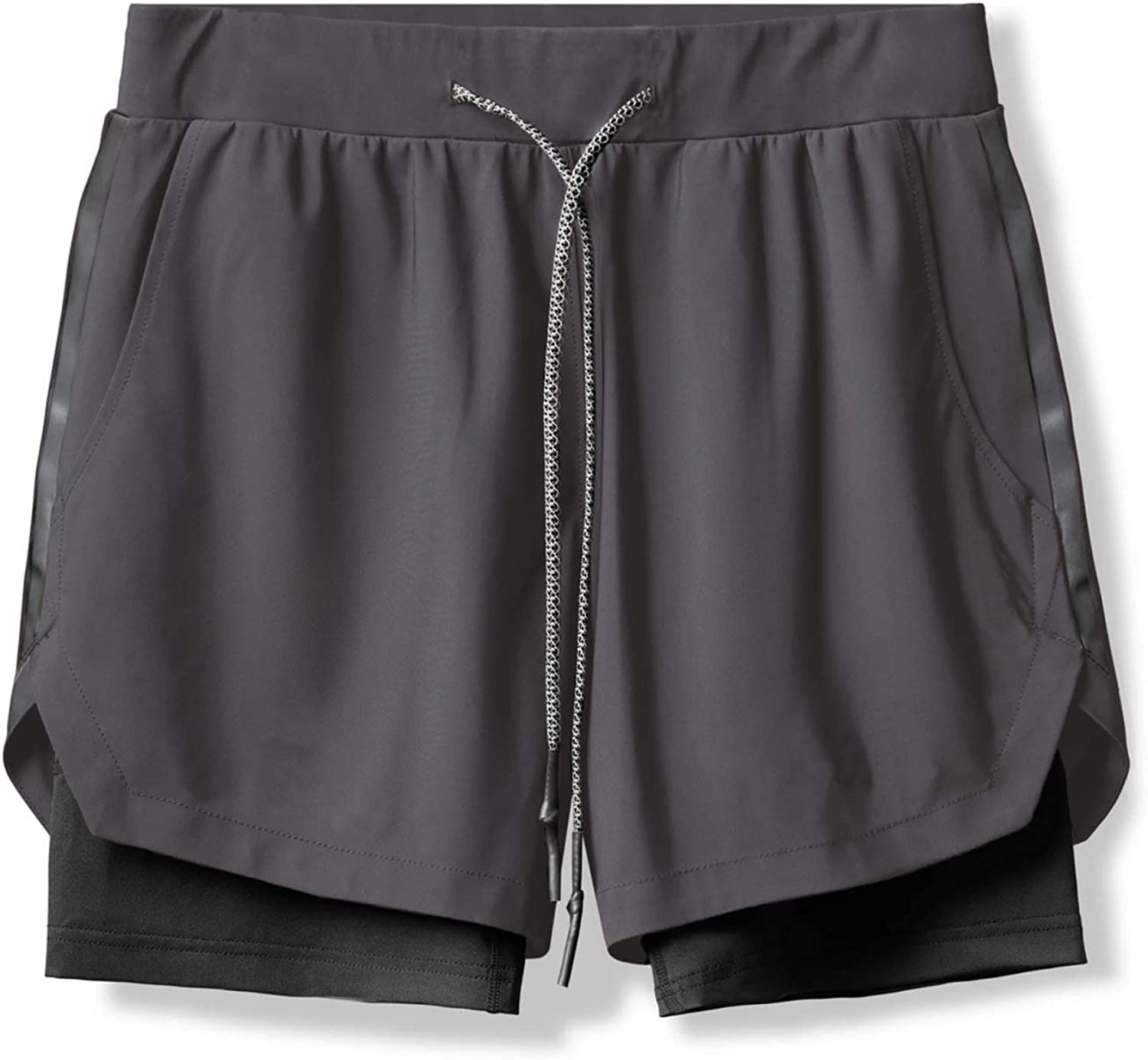 Jubaton Men's 2-in-1 Drawstring Sports Shorts Outdoor Leisure Breathable Gym Training