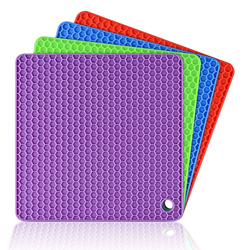 Silicone Pot Holder Trivet Mats - Hot Pads Spoon Rest, Multipurpose Trivet for Hot Dishers Heat Resistant Food Grade Silicone Set of 4
