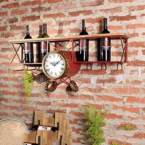 WLH- Industriële stijl retro smeedijzeren wijn raamwand bar restaurant wanddecoraties creatieve wijnrek plank (Color : Red)