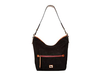 Dooney & Bourke Camden Fielding Suede Hobo (Black/Brandy Trim) Handbags