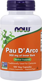 NOW Supplements, Pau D'Arco (Tabebuia heptaphylla) 500 mg, Herbal Support, 100 Veg Capsules