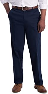 Haggar Men's Iron Free Premium Khaki Classic Fit Flat Front Expandable Waist Casual Pant