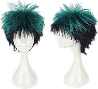 NiceLisa Unisex Short Green Black Mixed Hair School Boy Academia Anime Hero Style Cosplay Costume Party Wigs