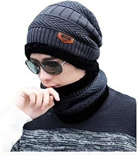 Alexvyan 1 Set Snow Proof (Inside Fur) Unisex Woolen Beanie Cap with Scarf for Men Women Girl Boy Warm and Soft-2020
