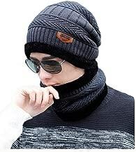 Alexvyan Unisex Woolen Beanie Cap and Neck Scarf (Black)