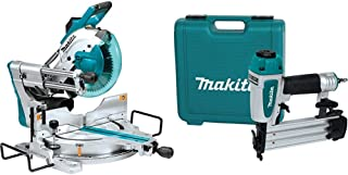 Makita LS1019L 10 Inch Dual-Bevel Sliding Compound Miter Saw with Laser with AF505N 2 Inch Brad Nailer, 18 Gauge