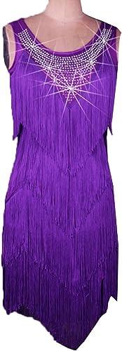 MoLiYanZi Robe de Compétition de Danse Latine pour Les Femmes Vêtements de Perforhommece Gland Jupe de Danse Latine Professionnel Costumes de Perforhommece