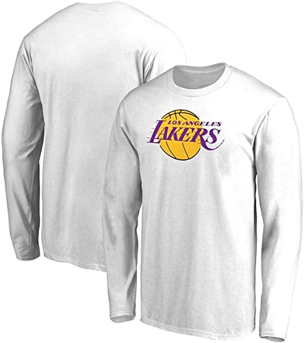 WSX T-Shirt NBA à Manches Longues Maillots De Sport Et De Loisirs pour Hommes Lakers De Los Angeles Costumes D'entraîneHommest De Basket-Ball Lakers,blanc-L
