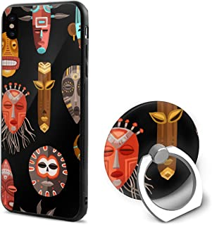 LeYue iPhone Xs/X Case, African Face Mask Slim Fit Liquid Silicone Gel Rubber Shockproof Case Soft Cover +Finger Ring Holder Stand Grip Mount Kickstand for iPhone X/XS 5.8 Inch