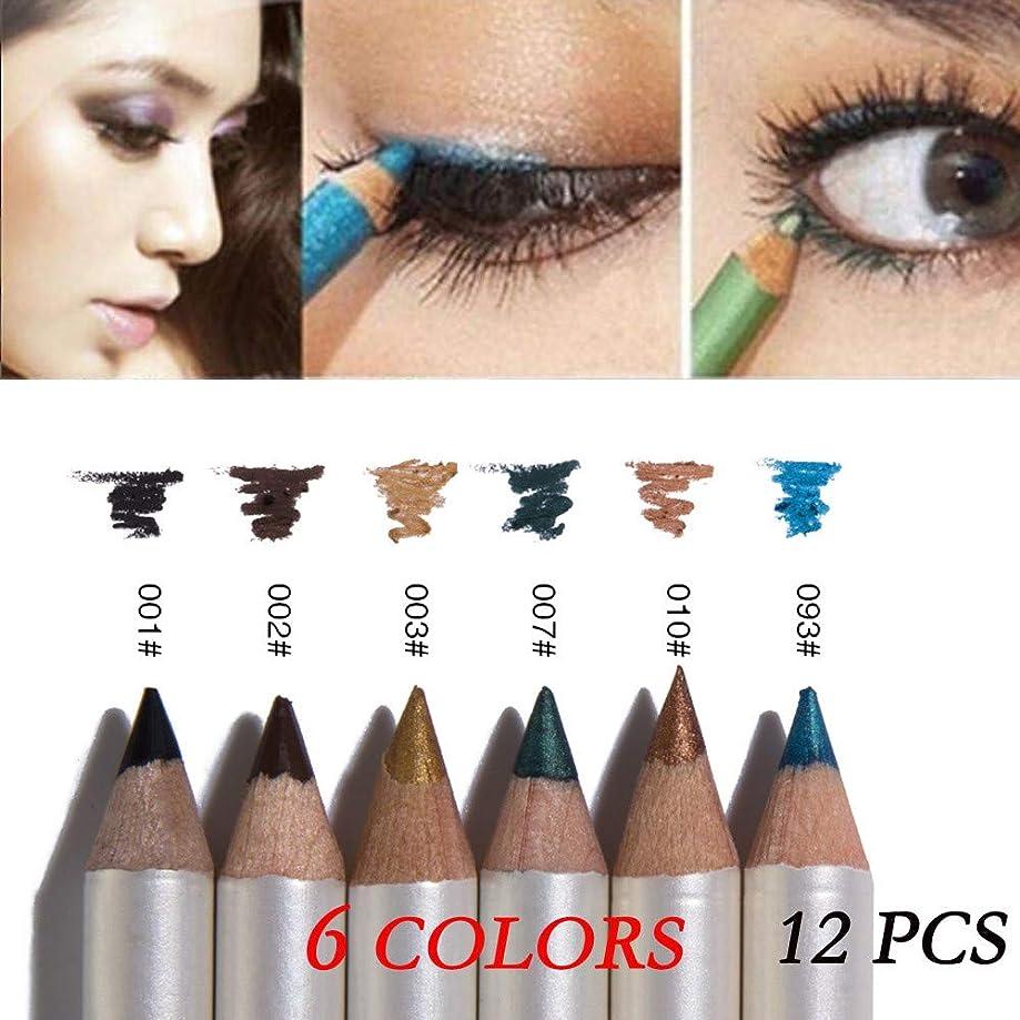しかし下手ラベル6色12色の混合色防水アイシャドーアイライナーペンメイクアップペン