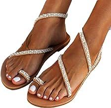Wyxhkj Sandalias Planas Mujer Sandalias De Verano Crystal Perlas Sandalias Para Mujer Con Punta Abierta Zapatos De Playa Bohemias Sandalias Romanas Zapatos Casuales Vestir Para Mujer
