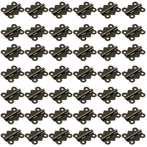 HSeaMall 50 PZ Farfalla Pieghevole Cerniere Estrae Mini Bronzo Antico Mobili Per La Casa Hardware Hardware Cassetto Porta Armadio Hingewith 200 PZ Viti