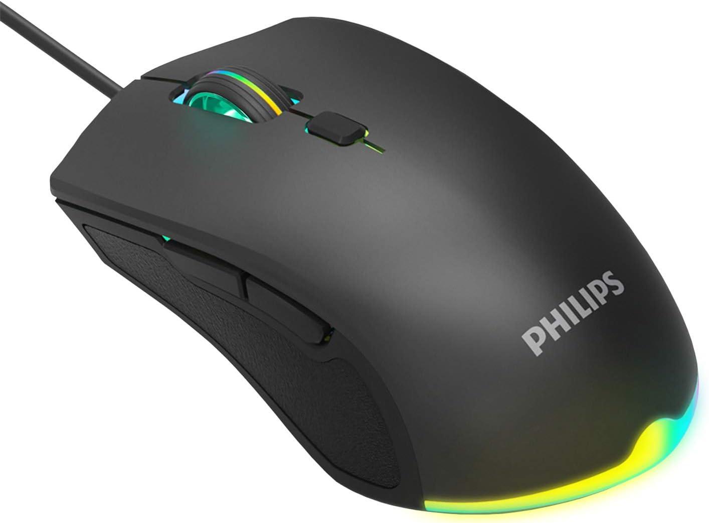 Philips Gaming Mouse Wired RGB Chroma Backlit, 6 Programmable Buttons Ergonomic Design Adjustable DPI 7 Color Backlit for Laptop PC Gamer Computer Desktop