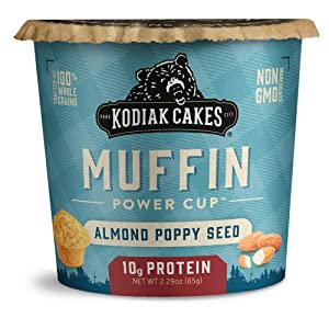 Kodiak Cakes Minute Muffins Protein Snack, Almond Poppy Seed, 2.29oz (Pack of 12)