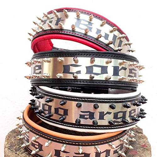 Bestia Genuine Leather Personalized Dog Collar. Your Dogs Name Engraved on Stainless Steel! 2.5 inch Wide. Padded. Durable & Comfortable. Hand Made Pitbull.Cane Corso.Rottweiler.Bully