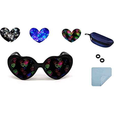 Blue SN-RIGGOR 4 Packs Rainbow Hearts Fireworks Diffraction Glasses Special Effect Light for Outdoor Music Party//Bar//Fireworks Displays//Holiday Lights//Club//Concert Lights