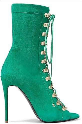 SYYAN Femmes Suède Bouche de Poisson Poisson Les Bretelles Manuel Pompe Cheville Bottes, vert, 34  qualité pas cher et top