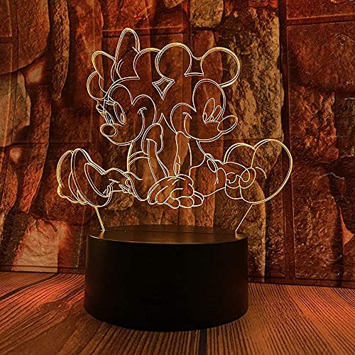 Mickey & amp; Minnie Mouse Stereo 3D Cartoon Animation Night Light LED Colorful Gradient Touch Telecomando Lampada da tavolo USB Table comodino Creativo regalo di compleanno Decorazione Light