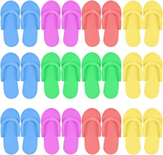 Hysagtek 12 Pairs Disposable Slippers Shower Sand Pedicure Beach Light Weight Foam Flip Flops, Sandals Random Color