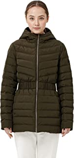 Womens Hooded Cinched Waist Quilted Puffed Hooded Winter...