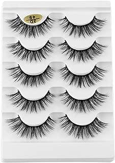 Professional False Eyelashes Faux 3D Mink Eyelashes Thick Long Multilayer Fluffy False Eyelashes with Free Precision Eyelashes Clip (5 Pairs)(3D-49)