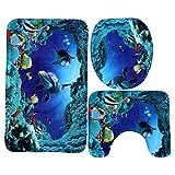 Lance Home 3 Pieza Antideslizante Sea World Baño Mat Set (Baño Alfombra Alfombra + Pedestal + Cubierta de Asiento de Inodoro)