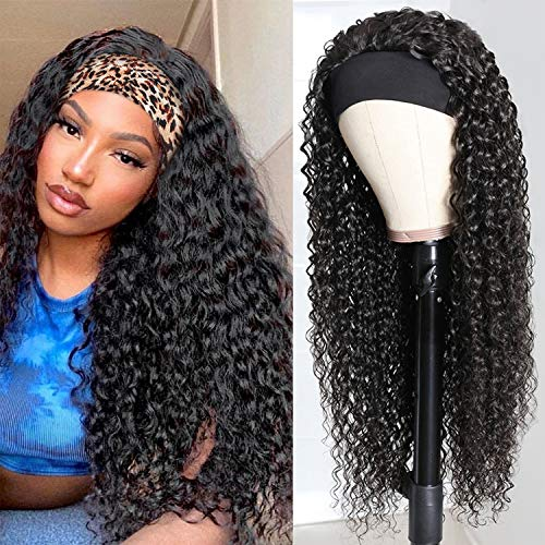 Headband Wig Deep Wave Human Hair Wigs Glueless None Lace Front Wigs Brazilian Virgin Hair Machine Made Wigs Ice Silk Deep Curly Headband Half Wig for Black Women 150% Density 18 Inch