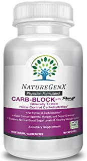 NatureGenx - Carb-Block with Phase 2 Carb Controller (Chromium, White Kidney Bean Extract, Gymnema) for Healthy Weight Loss and Control Appetite 1 Pill Block Carbohydrates up to 400 Calories - 90 Ct