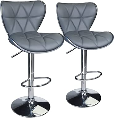 Leopard Shell Back Adjustable Swivel Bar Stools, PU Leather Padded with Back, Set of 2,Grey