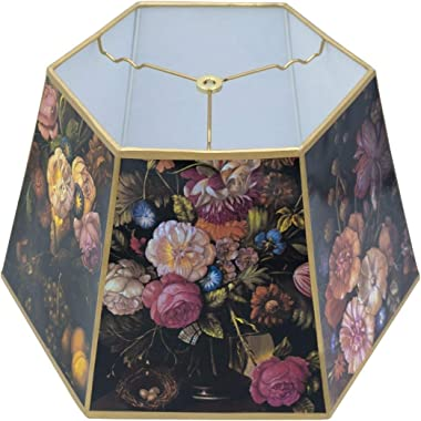 Upgradelights Black Floral 18 Inch Hex Floor Lamp Shade Replacement (12 X 18 X 10.75)