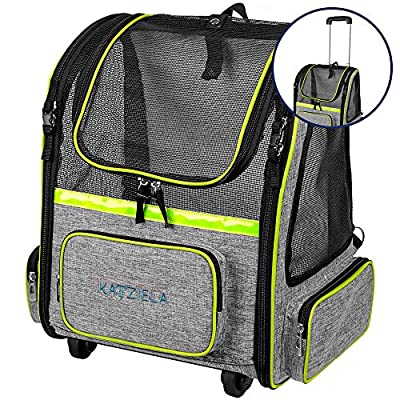 Katziela Wheeled Pet Carrier Backpack - Soft Sided, Airline Approved Hiking Carrying Bag for Small Dogs and Cats – Removable Rolling Wheels – Mesh Ventilation Windows, Storage Pockets (Green/Gray)