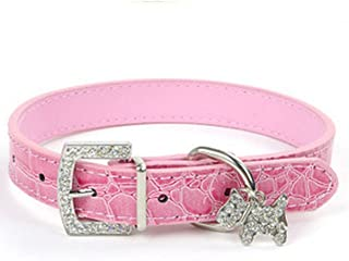 1 Pack Adjustable PU Leather Dog Collar Small Pet Necklaces With Crystal Rhinestone Skull Soft Elastic Bow Bell Tag Good Popular Wide Reflective Safety Breakaway Training Camo Kitten Collars
