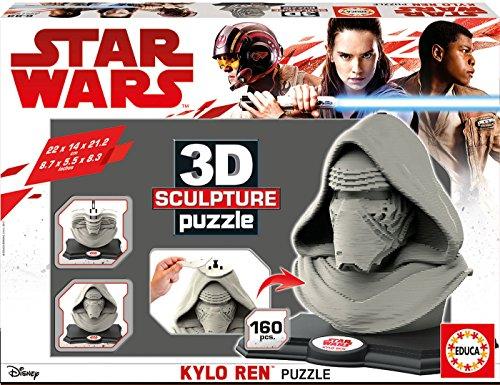 Star Wars Dibujos Animados y cómic 3D Sculpture Puzzle Kylo Ren Color Gris 431.5 x 299.7 x 75.9 Educa Borrás 17333.0