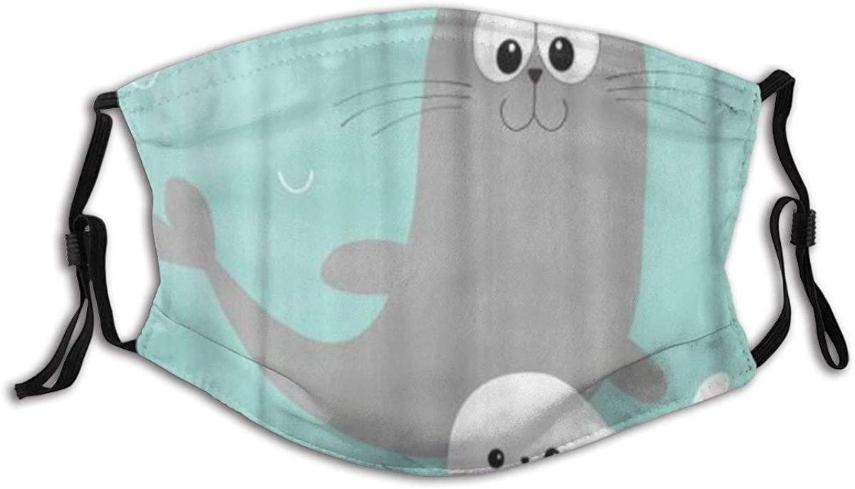 KENADVI Reusable Face Cover, Sea Lion Harp Seal Pup Cute Cartoon Character Happy Breathable Adjustable Ear Straps Anti Dust Balaclava Cover with 2 Filters for Outdoor Biking Running Hiking