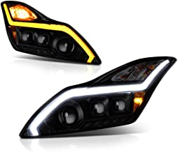 [Sequential Turn Signal] VIPMOTOZ Hexa Projector Switchback LED Strip Headlight Assembly For 2008-2015 Infiniti G37 & Q60 Coupe - Matte Black Housing, Smoke Lens, Driver and Passenger Side