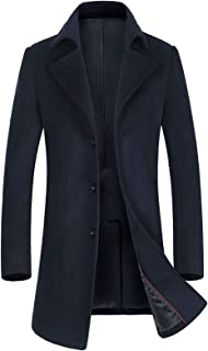 ELETOP Men's Wool Coats Single Breasted Trench Coat Winter Jacket KEMCT