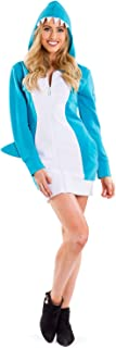 Cute Women's Shark Costume Dress w/Pockets for Halloween - Shark Onesie for Women