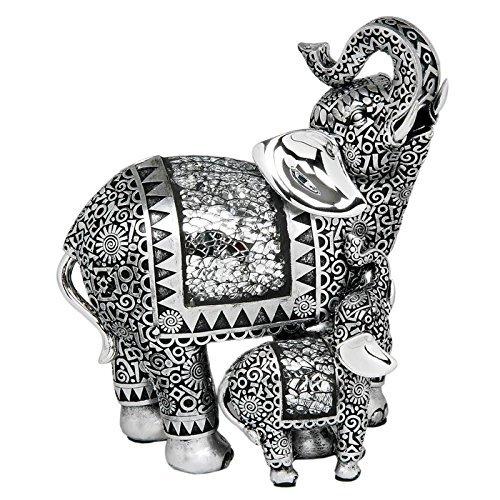 Shudehill Statuetta decorativa di elefante con elefantino, colore argento anticato, 20,5 cm