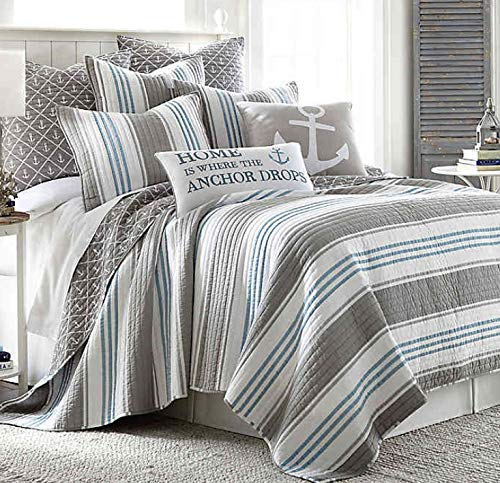 Levtex Home Provincetown King Quilt, Cotton, Coastal, Stripe,