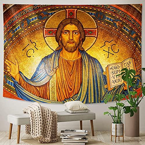 Jesucristo mural decoración del hogar tapiz hippie decoración bohemia decoración de la pared estera de yoga manta tela colgante A1 180x230cm