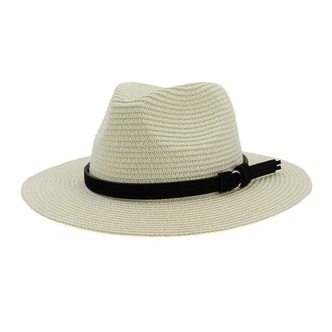体操大理石アクセスBEIXI 新しい夏の帽子パナマ帽子中空麦わら帽子男性用女性革リボン大つばサンビーチ帽子ジャズキャップフェドーラ通気性快適 (色 : クリーム, サイズ : 56-58CM)